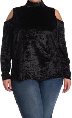 One A Mock Neck Cold Shoulder Long Sleeve Velvet Top (Plus Size)
