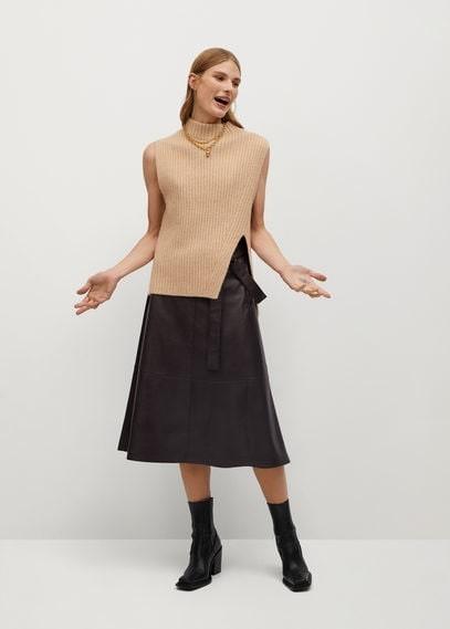 MANGO Faux-leather skirt
