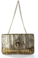 Milly Gold Leather Textured Embossed Structured Small Crossbody Clutch Handbag