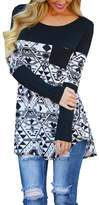 Tomteamell Womens Tshirt Color Block Patchwork Long Sleeve Pocket Tops L