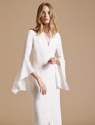 Halston Flounce Sleeve Crepe Gown
