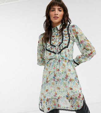 Topshop IDOL shirt dress with ruffle detail in floral print