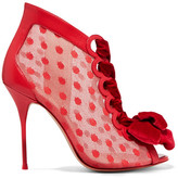 Sophia Webster Mitsy Velvet-trimmed Polka-dot Tulle And Leather Boots - Red
