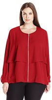 NY Collection Women's Plus Size Long Sleeve Zip Front Trench Blouse