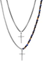 Unbranded Men's Oxidized Stainless Steel Double Strand Cross Necklace