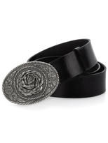 Leather Belt with Nickle Rose Buckle