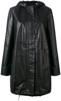 Paco Rabanne hooded rain coat - women - Cotton/Lamb Skin - 38