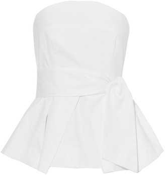 Milly Kylie Strapless Pleated Cotton-blend Poplin Top