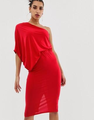 ASOS DESIGN one shoulder drape pencil dress