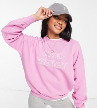 ASOS DESIGN Petite sweatshirt with good energy in pink