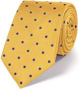 Charles Tyrwhitt Gold and blue silk classic spot tie
