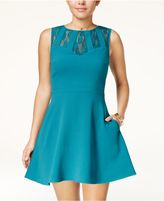 Speechless Juniors' Lace-Trim Fit and Flare Dress, A Macy's Exclusive
