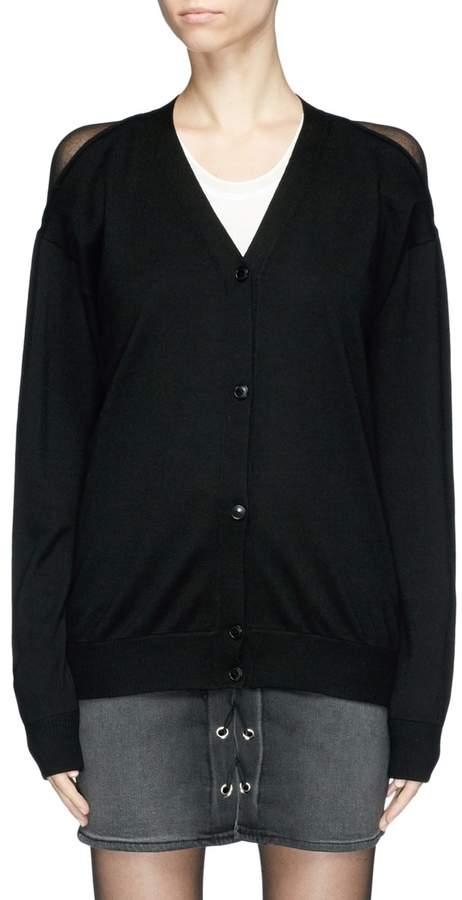 Alexander Wang 'Peel Away' sheer back yoke Merino wool cardigan