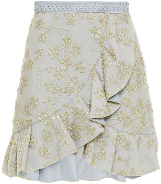 Self-Portrait Wrap-effect Metallic Embroidered Tulle Mini Skirt