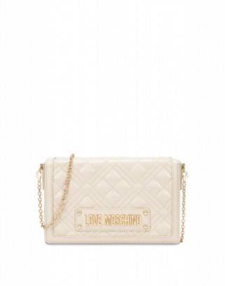 Love Moschino Quilted Evening Bag With Logo Woman White Size U It - (one Size Us)