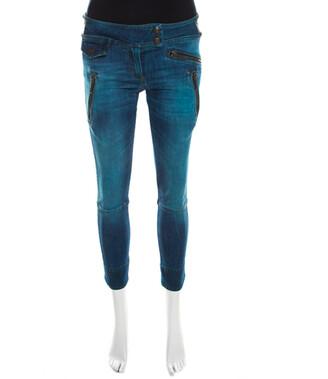 Just Cavalli Indigo Pigment Overdyed Denim Zipper Detail Tapered Jeans S