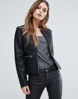 French Connection Medina Peplum Leather Jacket