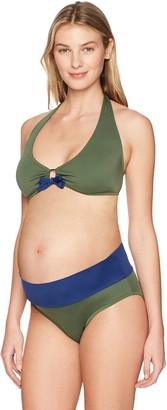 Prego Maternity Women's Solid Roll Waist Bikini