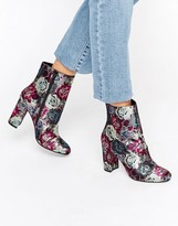 Dune Oxford Floral Heeled Ankle Boots