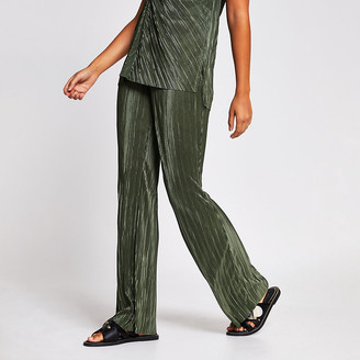 River Island Green plisse wide leg trouser