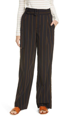 Vince Belted Wide Leg Stripe Pants