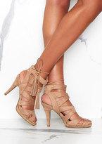 Missy Empire Valentina Beige Suede Cutout Tassel Detail Heels