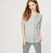 LOFT Petite Melange Shirred Shirt