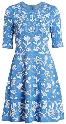 Lela Rose Floral Embroidered Knit Dress