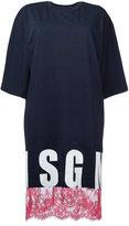 MSGM lace detail T-shirt dress - women - Cotton - M