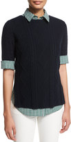 Lafayette 148 New York Half-Sleeve Mixed-Cable Sweater, Ink/Verde