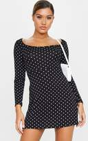 PrettyLittleThing Black Polka Dot Long Sleeve Square Neck Shift Dress