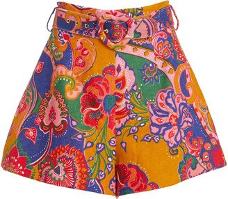 Zimmermann The Lovestruck Printed Linen Shorts