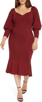 ELOQUII Long Sleeve Ponte Sheath Dress