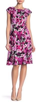 Robbie Bee Floral Cap Sleeve Fit & Flare Dress