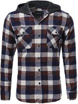 Style by William Flannel Plaid Checkered Long Sleeve Shirt With Hood Brown M