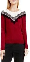Vince Camuto Lace Trim Colorblock Sweater (Regular & Petite)