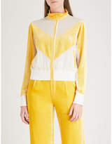Mo&Co. Contrast-panel silk-georgette and velour jacket