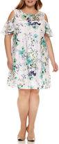 Studio 1 Short Sleeve Cold Shoulder Floral Lace Sheath Dress-Plus