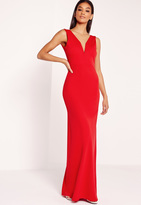 Missguided V-Neck Plunge Maxi Dress Red