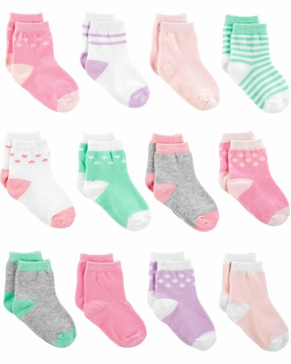 Simple Joys by Carter's 12-pack Socks Pink/Purple/Mint 0-3 Months
