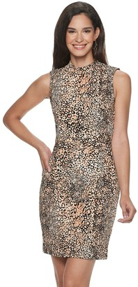 Sharagano Women's Animal Print Mockneck Sheath Dress