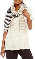 Eileen Fisher Handloomed Organic Cotton & Silk Striped Scarf