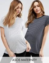 Asos Easy T-Shirt In Stripe 2 Pack