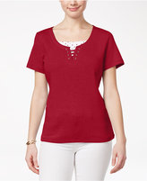 Karen Scott Petite Cotton Layered-Look Top, Only at Macy's