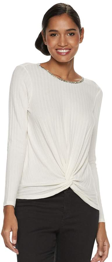 Juicy Couture Women's Twist-Front Ribbed Top