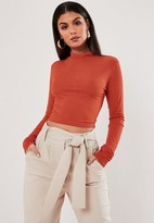 Missguided Petite Orange Ribbed Long Sleeve High Neck Top
