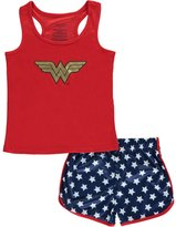 "Intimo Wonder Woman Little Girls' ""Heroic Mesh"" 2-Piece Pajamas"