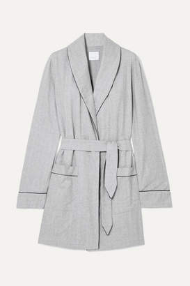 Three J NYC Belted Cotton-flannel Robe - Gray