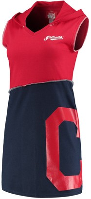 Women's Refried Tees Red/Navy Cleveland Indians Hooded V-Neck Sleeveless Mini Dress