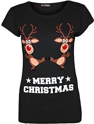 Fashion Star Womens Baby Reindeer Cotton Xmas Tshirt Top